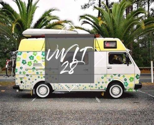 LT-28-VW-Florida-westfalia-pärchen-urlaub-hibiskus-Dachbox-Palmen-strand